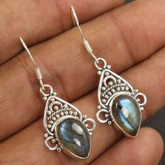 1 Pair Vintage Style 925 Solid Sterling Silver Earrings Natural LABRADORITE Gems #Unbranded #DropDangle