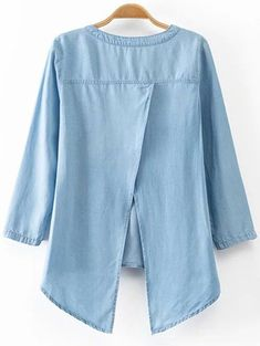 Back Slit Stand Neck Sleeve Denim Blouse Denim Blouse, Denim Top, Blouse Dress, Denim Fashion, Look Fashion, Hijab Fashion, Fashion Design, Trendy Fashion, Cute Blouses