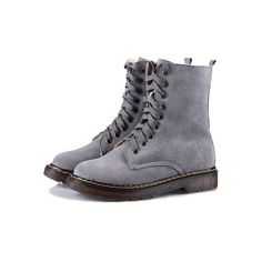 Gray Lace Up Flat Boots with Nap Lining
