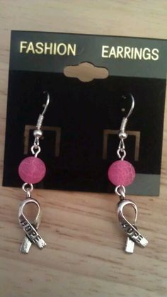 Dragon Agate Breast Cancer Awareness Earrings