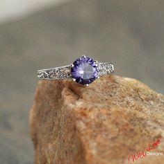 Alexandrite Color Change Sapphire Diamond Engagement Ring Filigree Milgrain Solitaire 2ct 8mm 14k 18k White Yellow Rose Gold-Platinum-Custom