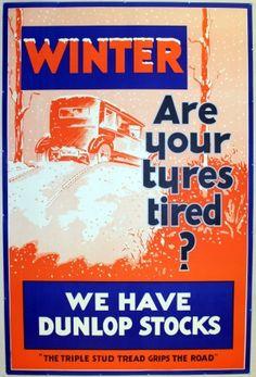 Dunlop Winter Tyres, 1930s - original vintage poster listed on AntikBar.co.uk