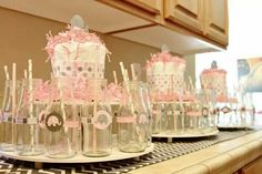 Pink and grey beverage stands