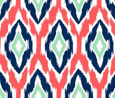 Ikat Fabric by the Yard   Coral Navy and Mint by GailWrightatHome