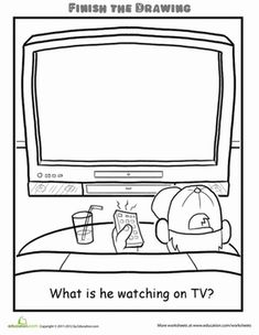 This Finish the Drawing TV worksheet gets your child to think, imagine, and draw. Use this Finish the Drawing TV worksheet with your child. Therapy Activities, Preschool Activities, Art Worksheets, Finish The Drawing Worksheets, Teaching Art, Teaching Spanish, School Resources, Art Classroom, Art Lessons