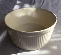 Pfaltzgraff Compatibles Souffle Dish Model 408 Buttercream Oatmeal Vertical Ribs #Pfaltzgraff
