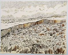 Pen and brown ink drawing, untitled (landscape with clouds), attributed to/in the manner of Vincent van Gogh on Apr 2014 Van Gogh Drawings, Dancing Drawings, Van Gogh Paintings, Ink Pen Drawings, Landscape Drawings, Landscape Art, Artist Van Gogh, Van Gogh Landscapes, Weather Art