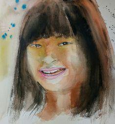 Retrato niña oriental Acuarela 40x50 2017