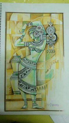 Madhubani Art, Madhubani Painting, Indian Art Paintings, Modern Art Paintings, Krishna Painting, Krishna Art, Indian Contemporary Art, Indian Folk Art, Buddha Art