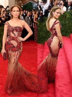 The 74 most daring dresses celebrities have ever worn Jennifer Lopez was the third celebrity to wear a sheer jeweled dress to the 2015 Met Gala. Versace Gown, Jennifer Lopez Photos, Sheer Gown, Beauty Awards, Victoria Secret Fashion Show, Celebrity Outfits, Celebs, Celebrities, Sexy Dresses