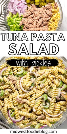 This Tuna Pasta Salad Recipe has everything that you love about classic tuna salad – pickles, onions, celery, dill – but we ditch the bread and add noodles instead! It's cool, creamy, and LOADED with fresh flavors. The classic mayo-laden dressing of traditional tuna macaroni salads gets a glow-up with olive oil and pickle juice to create a lighter but still classically flavored dressing! Tuna Noodle Salads, Cucumber Pasta Salad, Pasta Salad Recipes, Macaroni Salads, Creamy Tuna Pasta, Side Dish Recipes, Dinner Recipes, How To Cook Pasta, Onions