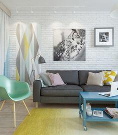 Гостиная, холл в цветах: серый, белый, лимонный, бежевый. Гостиная, холл в стиле скандинавский стиль.