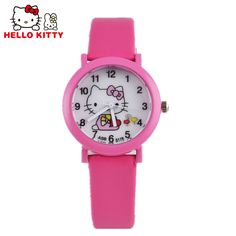 20f56fba3 US $2.36 20% OFF Hello Kitty Watch Children's Watches For Girls Cute Candy  Leather Kids Watches Cartoon Baby Watch Gift Clock reloj montre enfant-in  ...