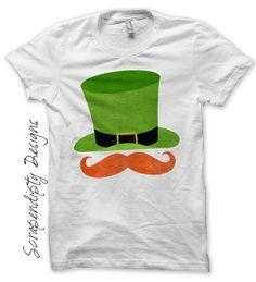 Iron on Leprechaun Shirt PDF - Red Mustache Iron on Transfer / Boys St Patrick's Day Outfit / Baby Leprechaun Hat Tshirt / Printable IT382-P by ScrapendipityDesigns on Etsy https://www.etsy.com/listing/178826081/iron-on-leprechaun-shirt-pdf-red