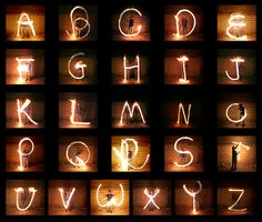 Light painting alphabet. I've been doing some of this stuff with the kids I teach for my teaching in schools work. The students love it!