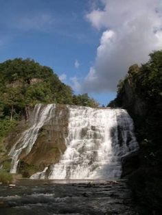 Ithaca Falls is in Ithaca, Tompkins Co, NY and is one of the more impressive waterfalls in the area.Taughannock Fallsis higher, but Ithaca Falls may be the most powerful of the many falls in the Finger Lakes region.--GLWB