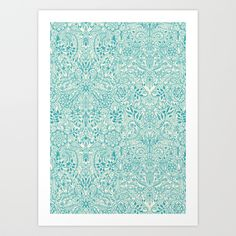 Detailed Floral Pattern in Teal and Cream Art Print by Micklyn | Society6
