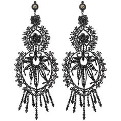 Gucci Earrings With Crystal Embroidery (€725) ❤ liked on Polyvore featuring jewelry, earrings, black, beaded jewelry, crystal jewelry, tassle earrings, tassel jewelry and gucci earrings