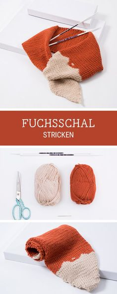 #Strickanleitung für einen Schal im Fuchs Design, #Strickmuster, #Stricken für Kinder / knitting pattern for a scarf coloured like a fox via DaWanda.com