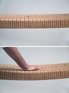 The Cuts Along This Wood Bench Give It A Surprising Flexibility Mexican architect and designer, Ricardo Garza Marcos, has created the BEND Bench, a modern wood bench that features perpendicular cuts along the wood, allowing the seat to be flexible. Diy Furniture Chair, Modern Wood Furniture, Furniture Plans, Furniture Design, Furniture Assembly, Furniture Online, Flexible Wood, Wood Joints, Bench Designs