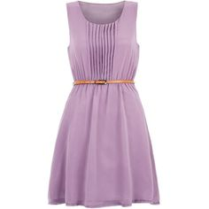 Tenki Lilac Sleeveless Chiffon Belted Dress ($39) ❤ liked on Polyvore featuring dresses, lilac, mini dress, fit and flare dress, chiffon mini dress, sleeveless summer dresses and sleeveless dress