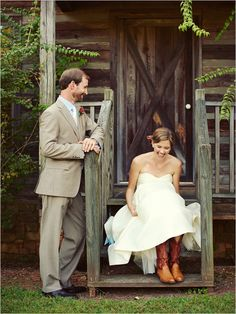cowboy boots & wedding dress... Always wanted to do this... but I love my red shoes!!!