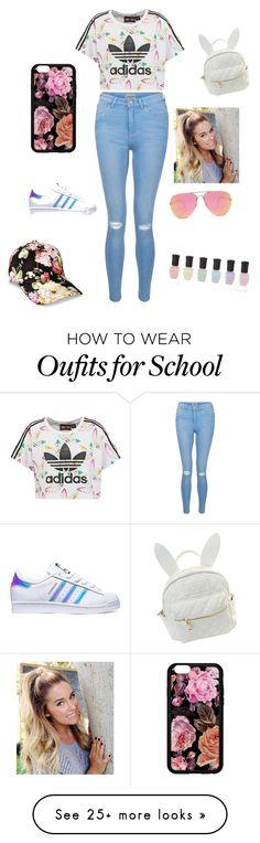 """Frist day of school"" by tripletthouse on Polyvore featuring adidas Originals, New Look, adidas, cutekawaii, Quay and Deborah Lippmann"