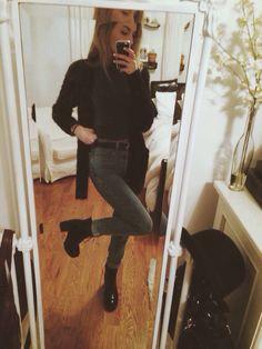 heeled boots, crop top, fuzzy cardi