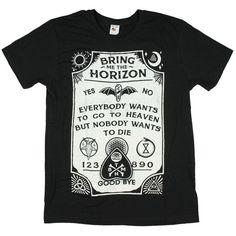 "Amazon.com: Bravado Adult Bring Me The Horizon ""Ouija Board"" Black... ($17) ❤ liked on Polyvore featuring tops, t-shirts, shirts, slim cut t shirts, slim shirt, slim fit tee, slim fit t shirts and tee-shirt"