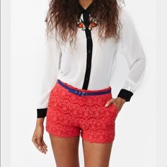 The perfect short! Red crochet shorts! Snatch these up for your spring break vacay! Pants