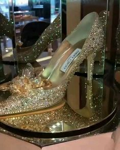 Jimmy Choo Cinderella Shoes, Cinderella Wedding Shoes, Pretty Shoes, Beautiful Shoes, Glass Heels, Sparkly Heels, Crystal Shoes, Bling Shoes, Designer Heels