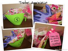 """Teacher Appreciation gift.  Funky watering can from the dollar section at Target.  Added a vinyl """"S"""" for Ms. Schmidt.  Put in some gardening gloves, a cute pink shovel and a gift card to one of her favorite restaurants.  She's a great teacher!"""