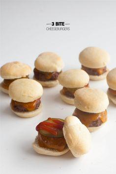 3 Bite Burgers  Read more - http://www.stylemepretty.com/living/2014/01/27/3-bite-burgers/
