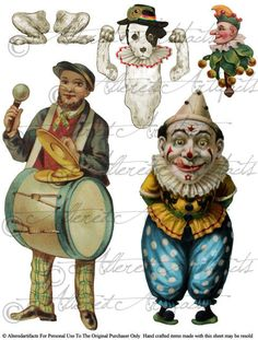 The Bottler and Clown were taken form Vintage Punch and Judy image collections and the Toby dog was created from a vintage dog jumping jack to