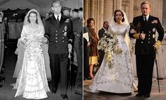 The dress steals the show in the new drama, one of the most extravagant television programmes ever made. It is a carbon copy of the stunning gown that the Queen wore for the 1947 wedding.