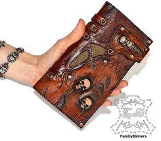 Men's wallet Leather wallet Skull purse Genuine by FamilySkiners