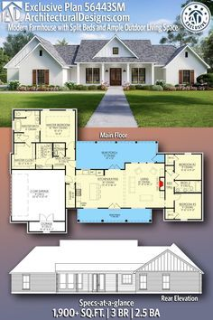 Plan 56443sm Exclusive Modern Farmhouse With Split Beds And Ample Outdoor Living Space Farmhouse Floor Plans Modern Farmhouse Plans House Plans Farmhouse