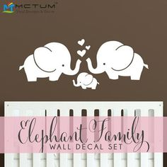 Cute elephant family wall decal set, comes with three elephants and three hearts that you can arrange in anyway you'd like. Guaranteed safe checkout: PAYPAL | VISA | MASTERCARD | AMEX Click ADD TO CAR