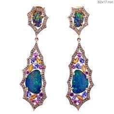Fine 18k Rose Gold Gemstone Opal Sapphire Tanzanite Pave Diamond Dangle Earrings #Handmade