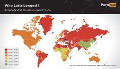 Un mapa que muestra el tiempo que pasan las personas de los países visualizando porno