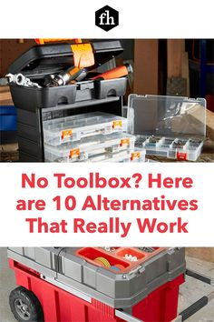No Toolbox? Here are 10 Alternatives That Really Work Workshop Storage, Tool Storage, Storage Drawers, Pegboard Organization, Organizing, Truck Tool Box, Tool Tote, Milwaukee Tools, Toolbox