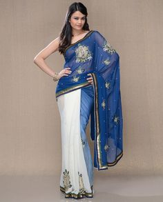 Cerulean Blue and Pearl White Sari with Baby Pearl Embellishments by Saffron and Silk