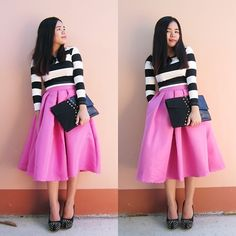 Sarah Rizaga - Choies Striped Two Piece Suit With Pleated Midi Skirt - Perfect Combination