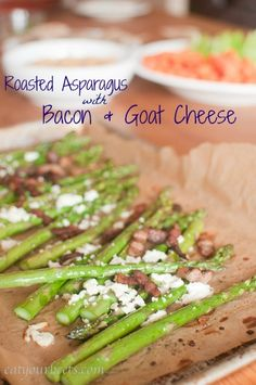 Even non asparagus lovers will love this Roasted Asparagus with Bacon and Goat Cheese recipe!