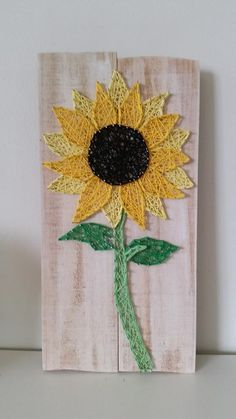 Sunflower string art. Check us out on Facebook at All Strung Up - https://www.facebook.com/pages/All-Strung-Up/915873695199667?ref=hl