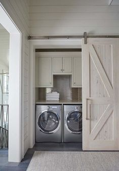 A small laundry room can be a challenge to keep laundry room cabinets functional, yet since this laundry room organization space is constantly in use, we have some inspiring design laundry room ideas. Laundry Room Doors, Farmhouse Laundry Room, Laundry Room Organization, Laundry Room Design, Farmhouse Decor, Modern Farmhouse, Small Laundry Closet, Vintage Farmhouse, Farmhouse Small
