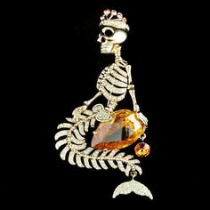 @shay Blaze ...  Mermaid Skull Crown Drop Brooch Pin Swarovski Crystal Yellow Halloween | eBay