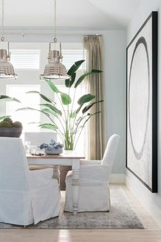 HGTV.com shares stunning pictures of the dining room. Cool gray walls serve as the backdrop for a comfortable coastal dining room that invites guests to visit long after dessert.