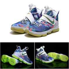 "February 17,2017 Shoes Nike Womens LeBron 14 ""Rio"" Rainbow White Blue Crimson Glow in the Dark"