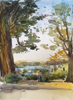 trees in watercolor by Suhita